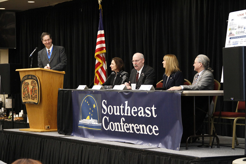 Senators Giessel, Stedman, von Imhof, and Begich discuss legislative priorities at the Southeast Conference Mid-Session Summit