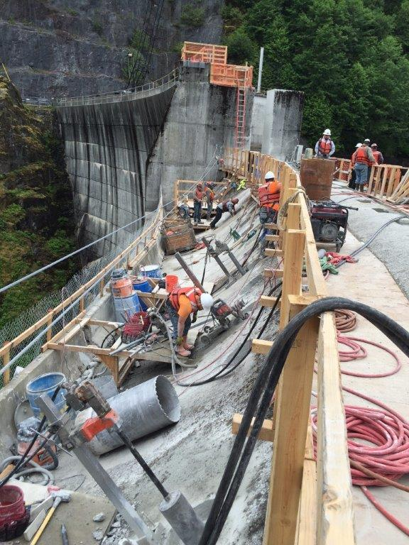 New construction at the Swan Lake Dam.