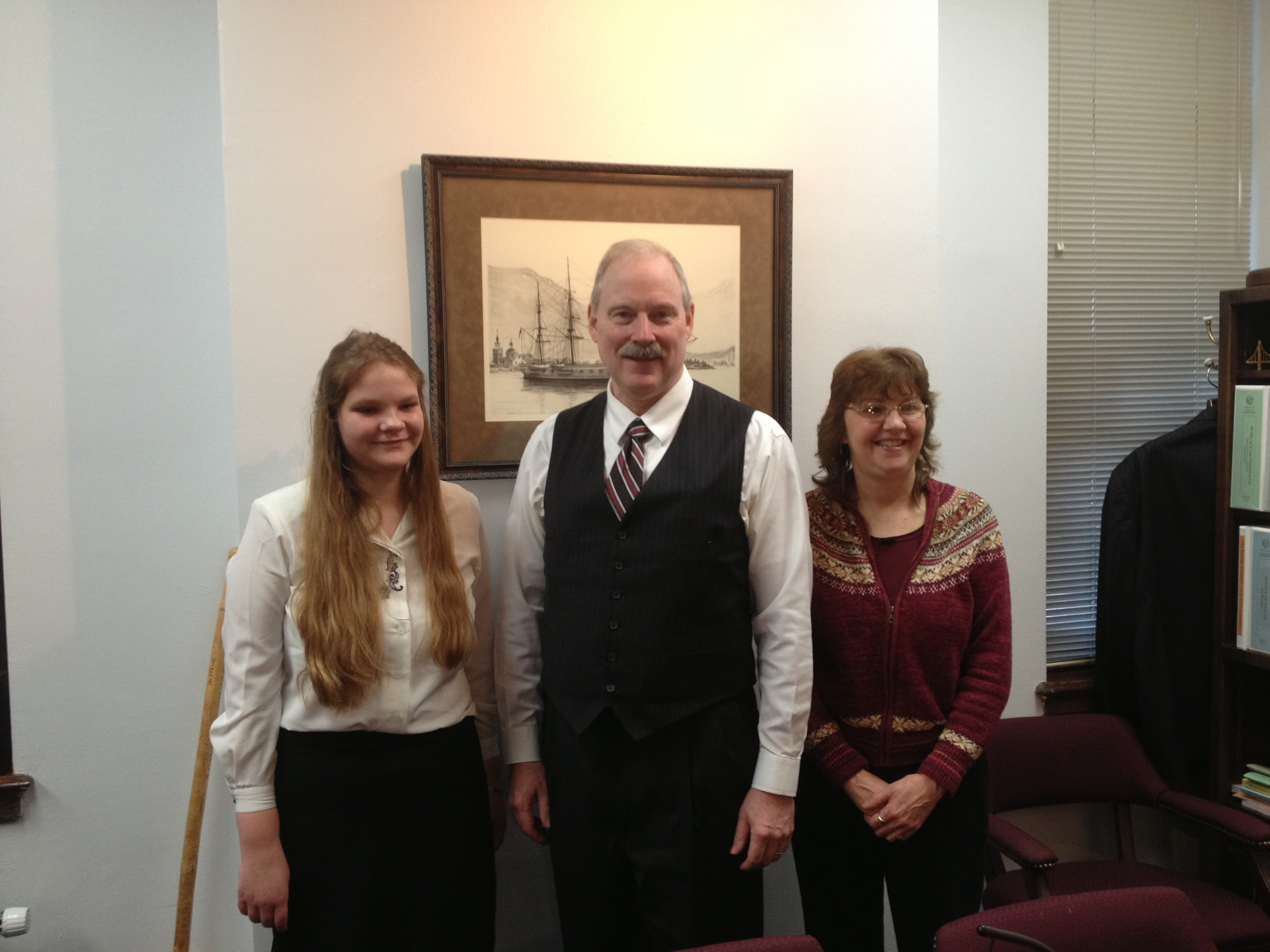 Naukati constituents Jessica Petty (L) and Candy Hemple (R) visit Sen. Stedman