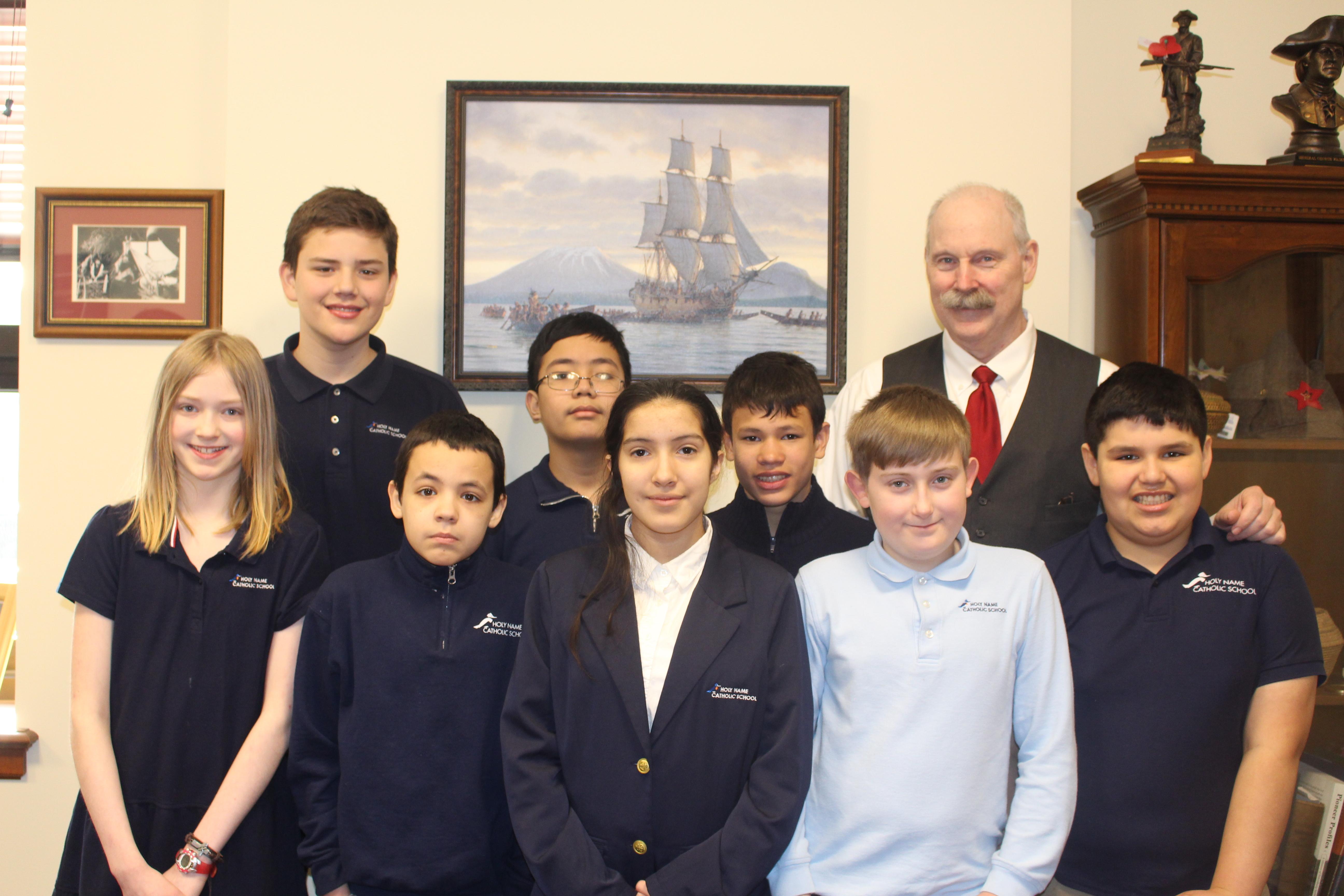 Holyname Catholic School Students with Senator Stedman