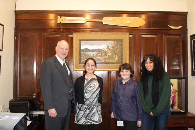 Senator Stedman pictured here with students from the Annette Island School District: Lovey Williams, Martha Wahl, & Tia Atkinson (chaperone).