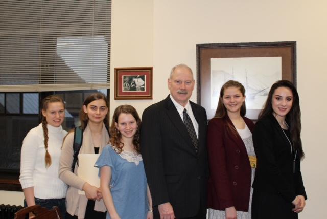 Alaska Close Up students with Senator Stedman: Grace Mikkelsen, Emma Axelson, Elizabeth Ramseth, Isadora Mattfeld, & Grace Lee.