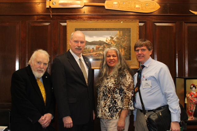 Senator Stedman with Sitka School Board Tom Conley, Cass Pook, & Board President Tim Fulton.