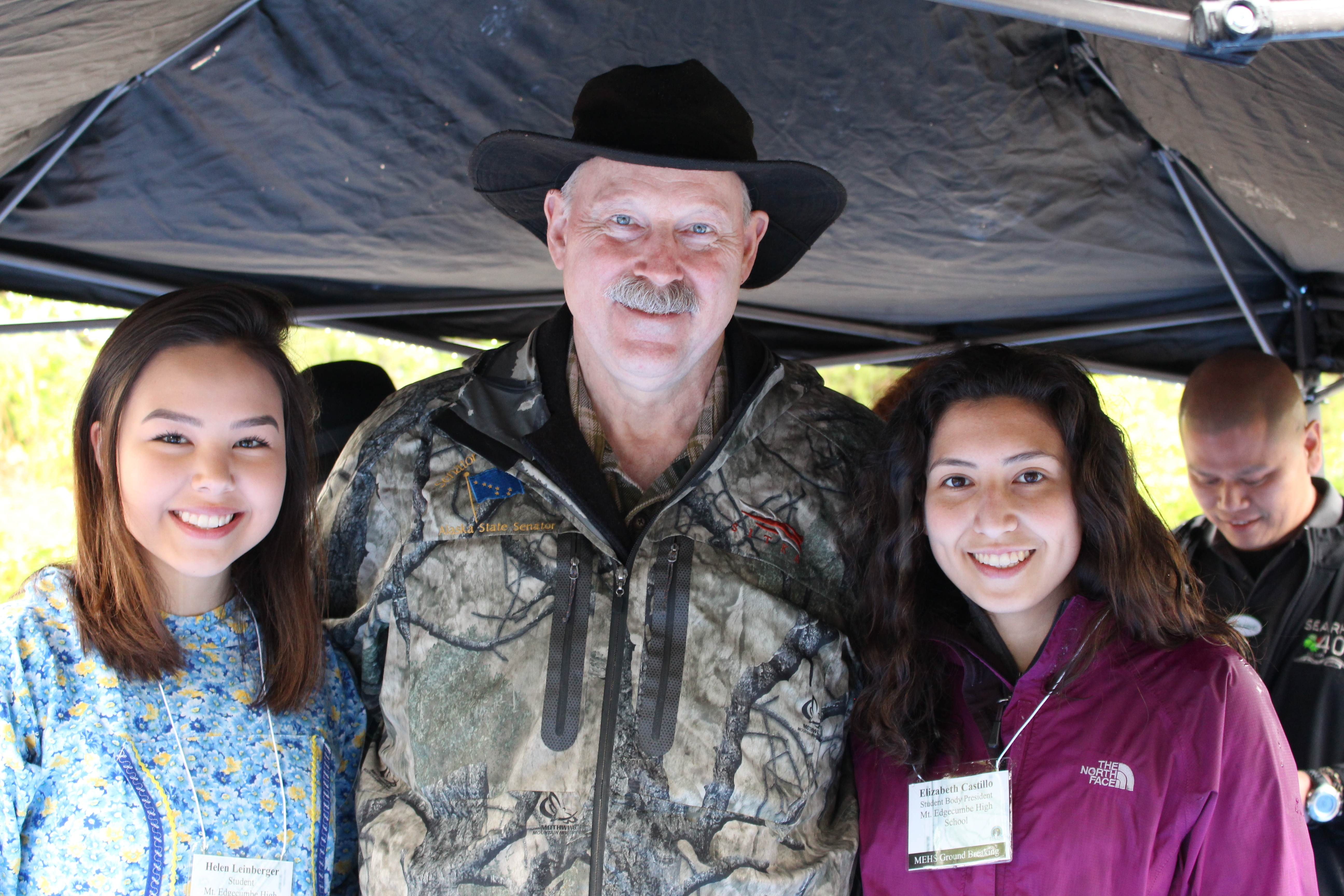 Senator Stedman pictured here with MEHS student Helen Leinberger and Elizabeth Castillo MEHS Student Body President
