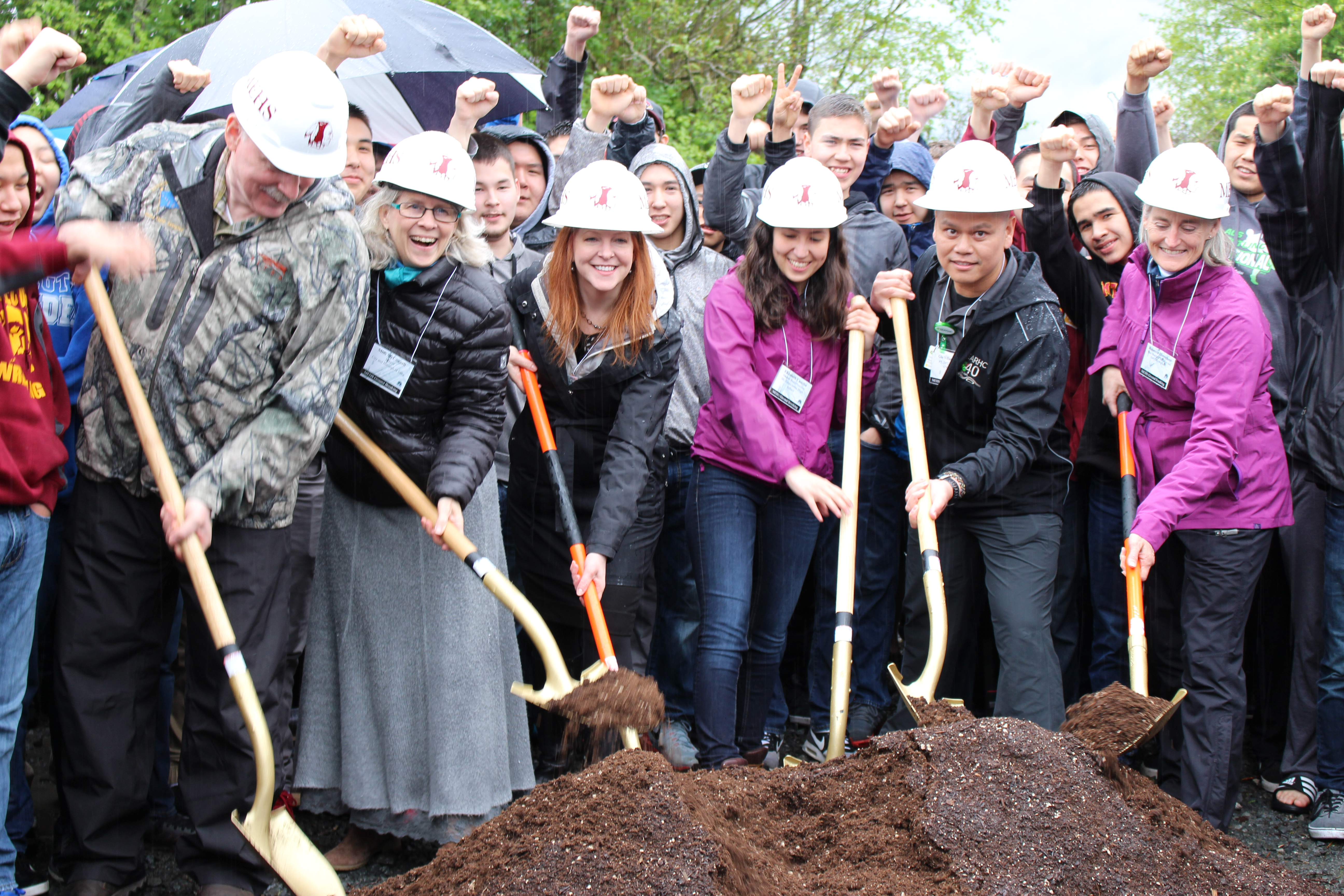 Senator Stedman pictured here with Sitka Mayor Mim McConnell, Interim Education Commissioner Dr. Susan McCauley,  MEHS Student Body President Elizabeth Castillo, SEARHC Physical Therapy Dept. Dr. Gio Villanueva, Alaska State School Board of Education and Early Development Member Rebecca Himshoo at the groundbreaking ceremony for the MEHS Aquatic Facility.