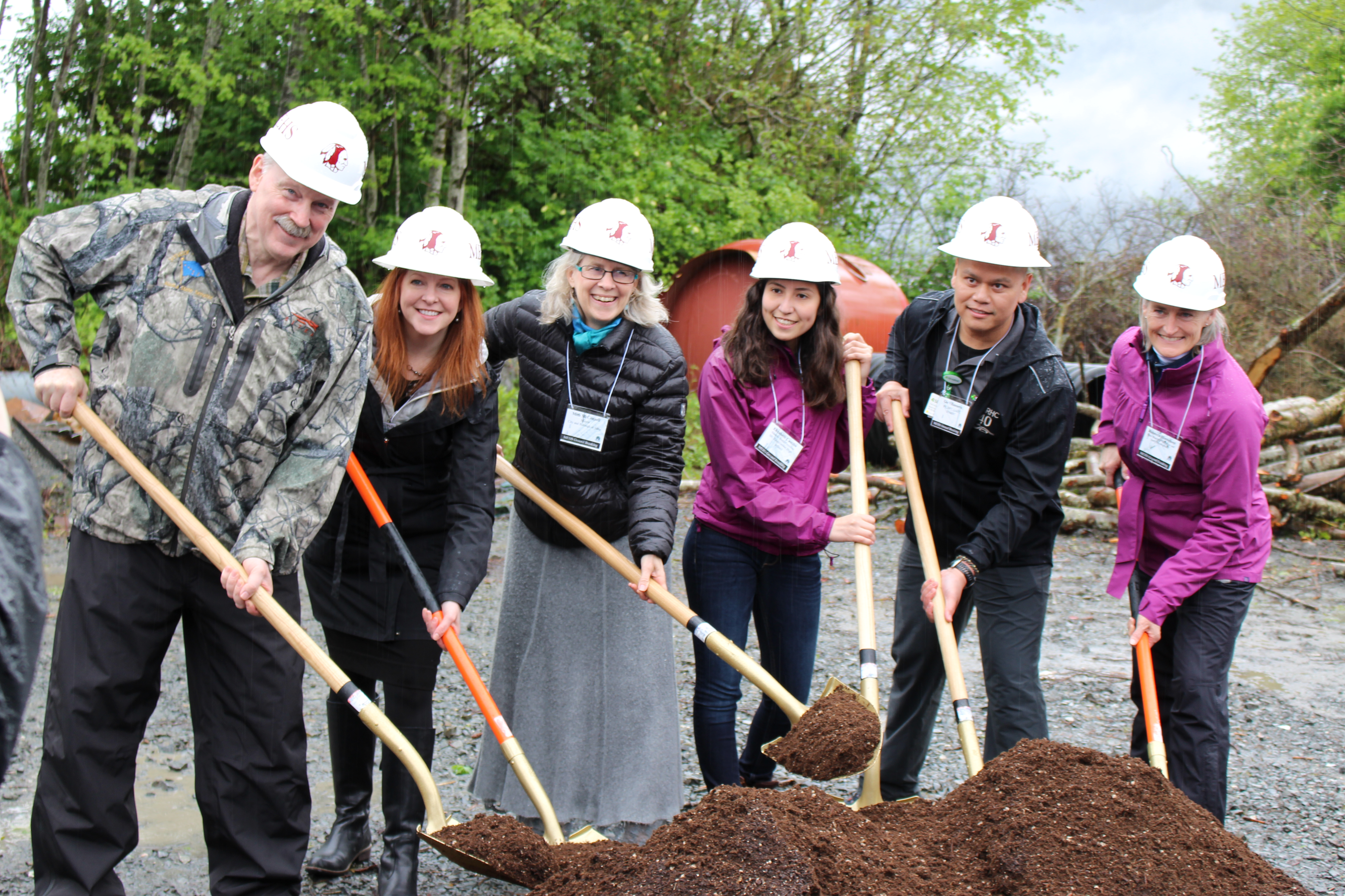Senator Stedman, Sitka Mayor Mim McConnell, Interim Education Commissioner Dr. Susan McCauley, MEHS Student Body President Elizabeth Castillo, SEARHC Physical Therapy Dept. Dr. Gio Villanueva, Alaska State School Board of Education and Early Development Member Rebecca Himshoo at the groundbreaking ceremony for the MEHS Aquatic Facility.