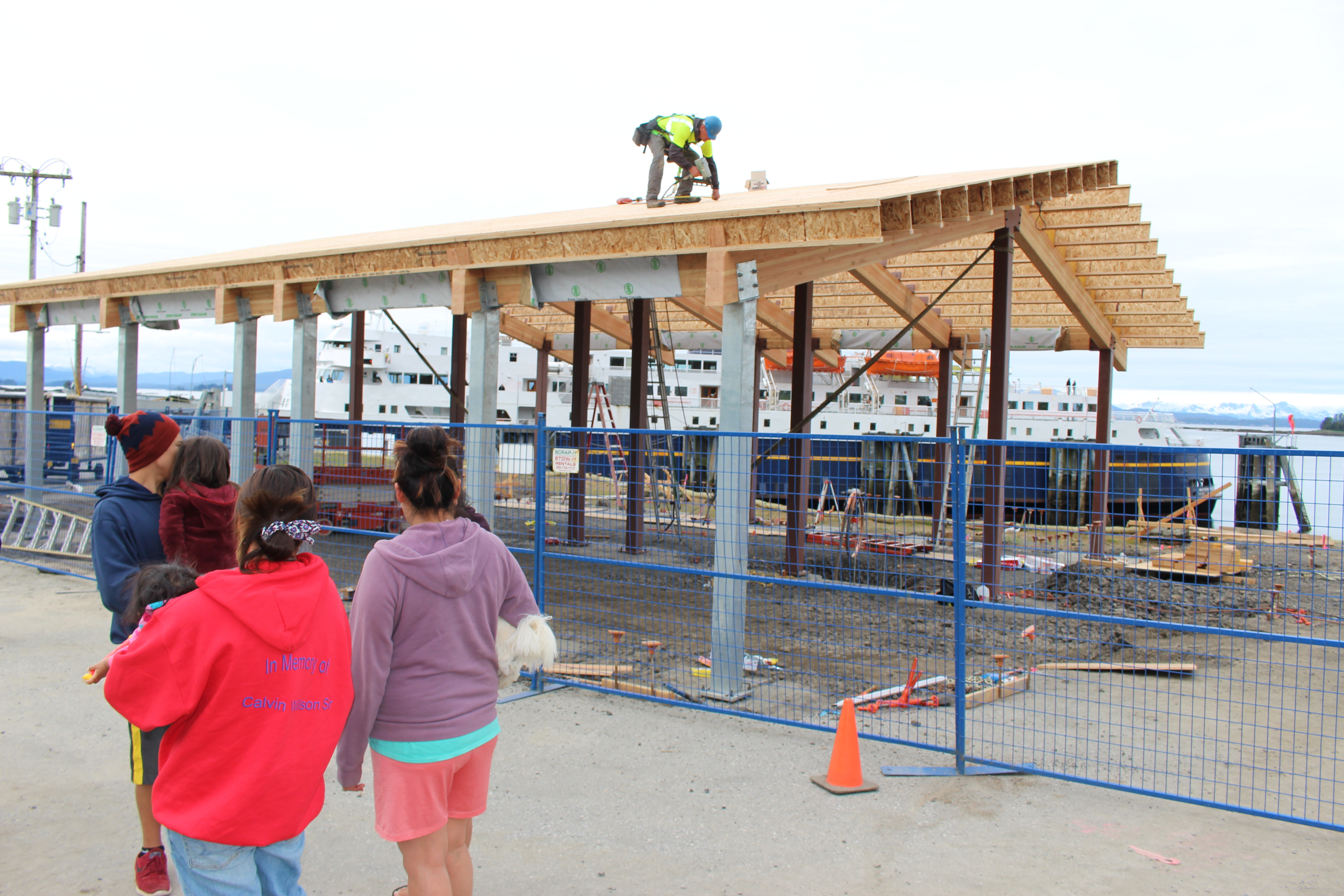 Another view of the ferry terminal building being built in Kake, Alaska.