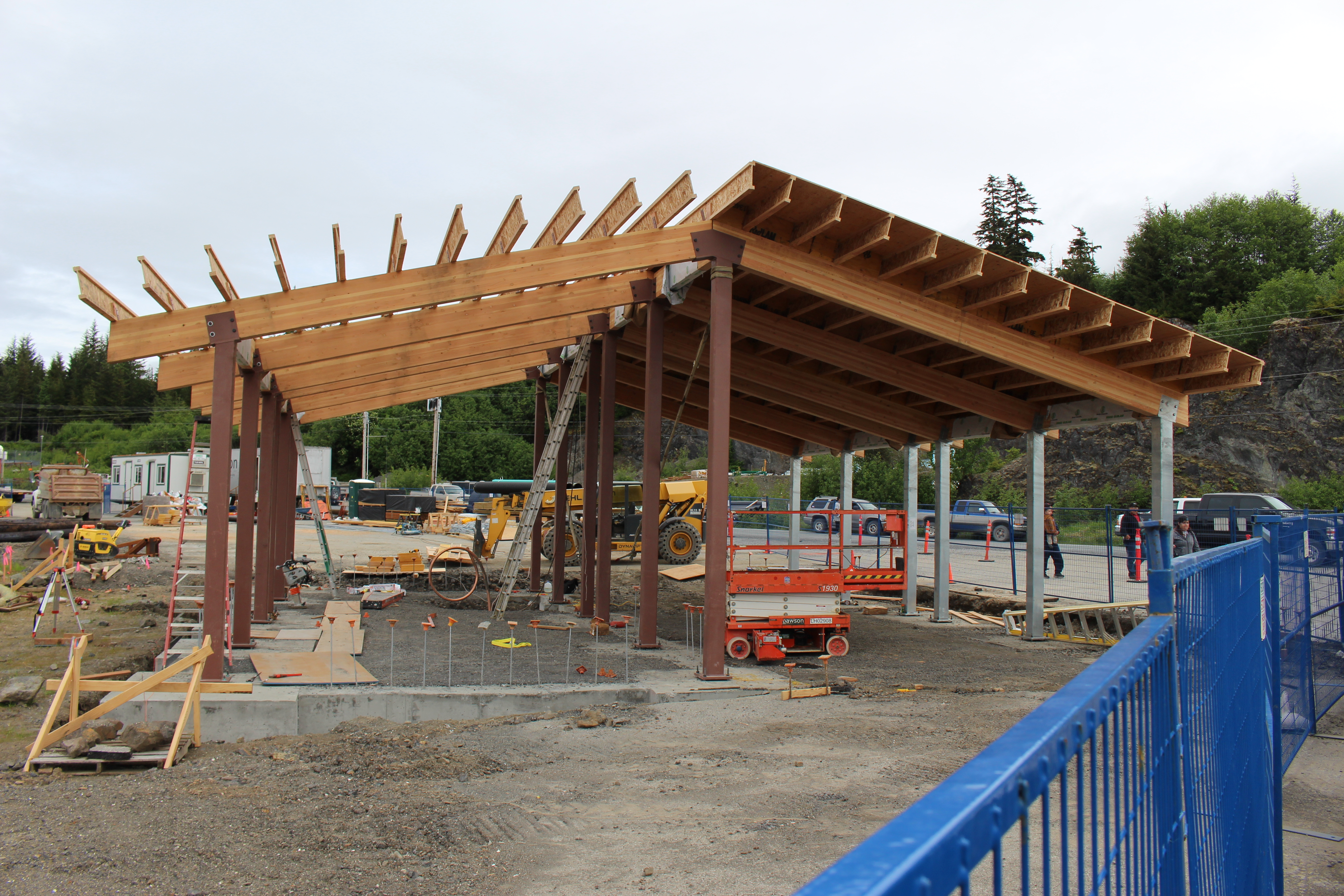 The construction of a new ferry terminal building for the community of Kake, Alaska is underway.