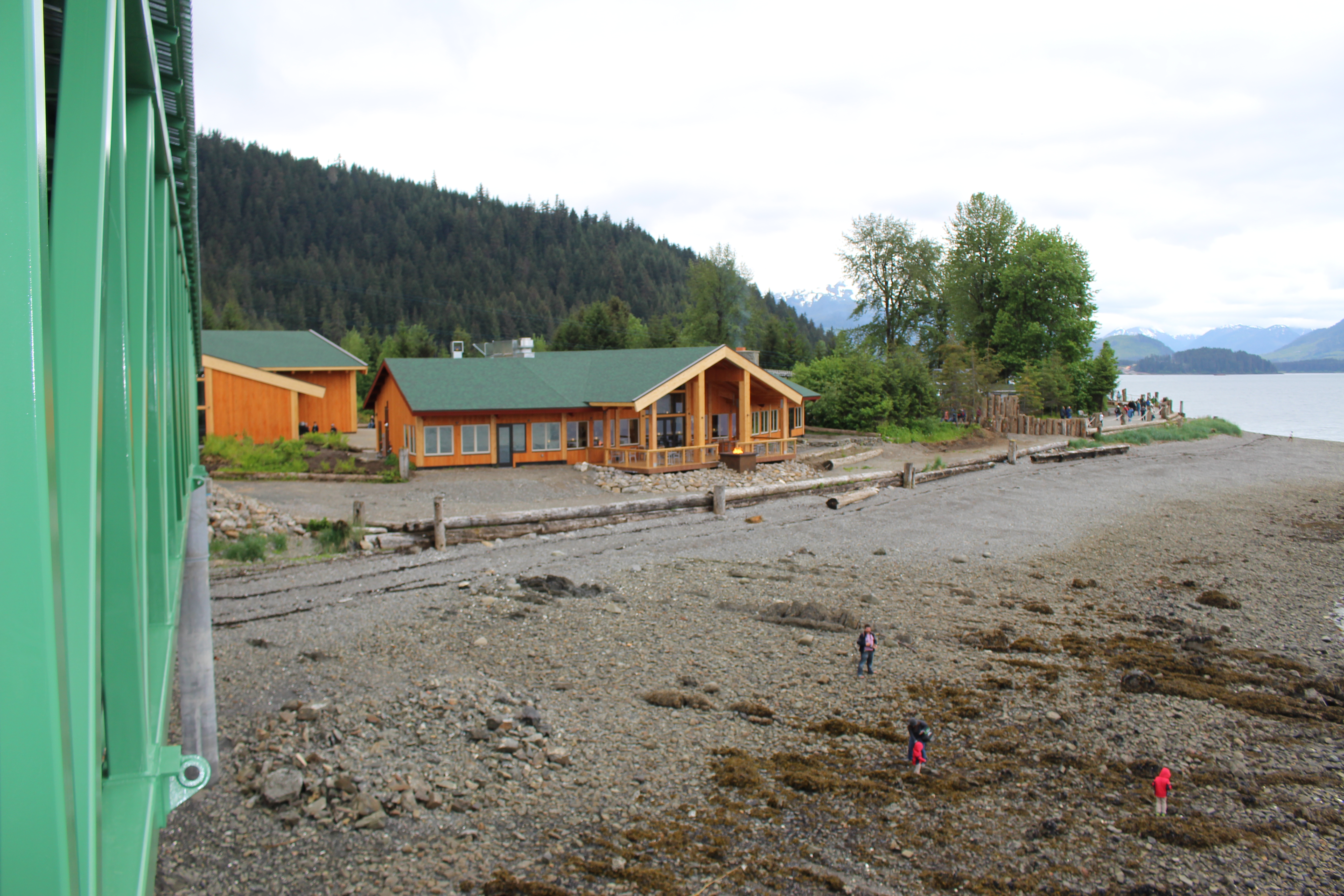 View of the Duck Point Smokehouse from the new cruise ship dock located in Hoonah, Alaska at Icy Strait Point.