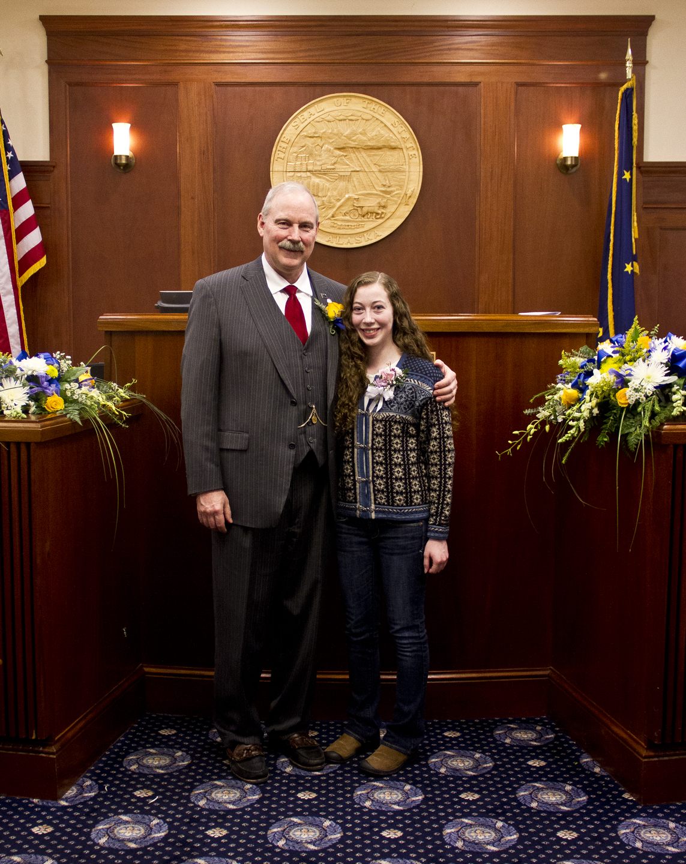 Sen. Stedman and his daughter Susie on the Senate floor