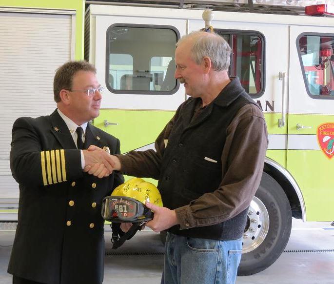 Senator Stedman and Ketchikan Fire Chief Frank Share