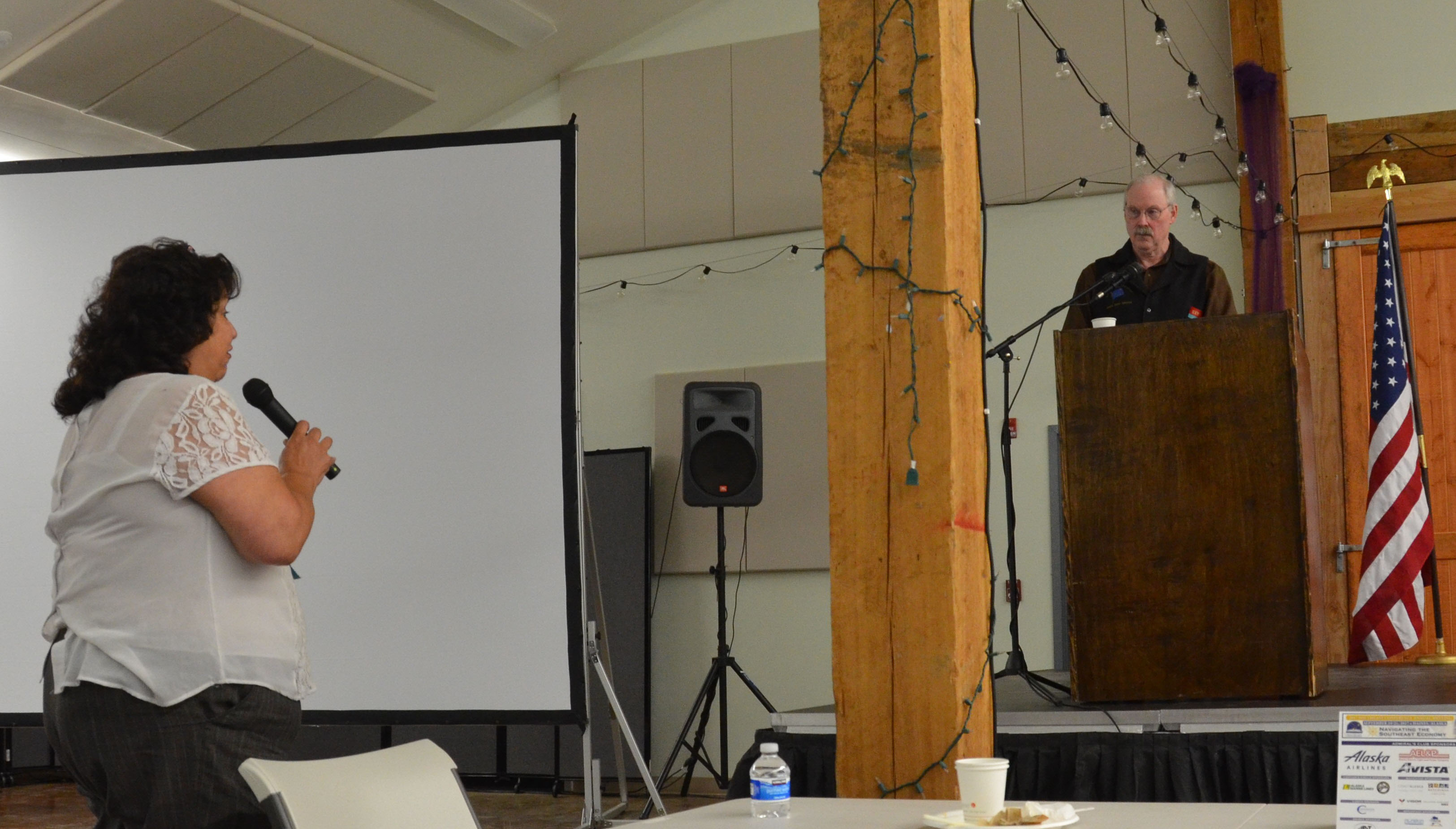 Senator Stedman addressing questions at the annual Southeast Conference event in Haines