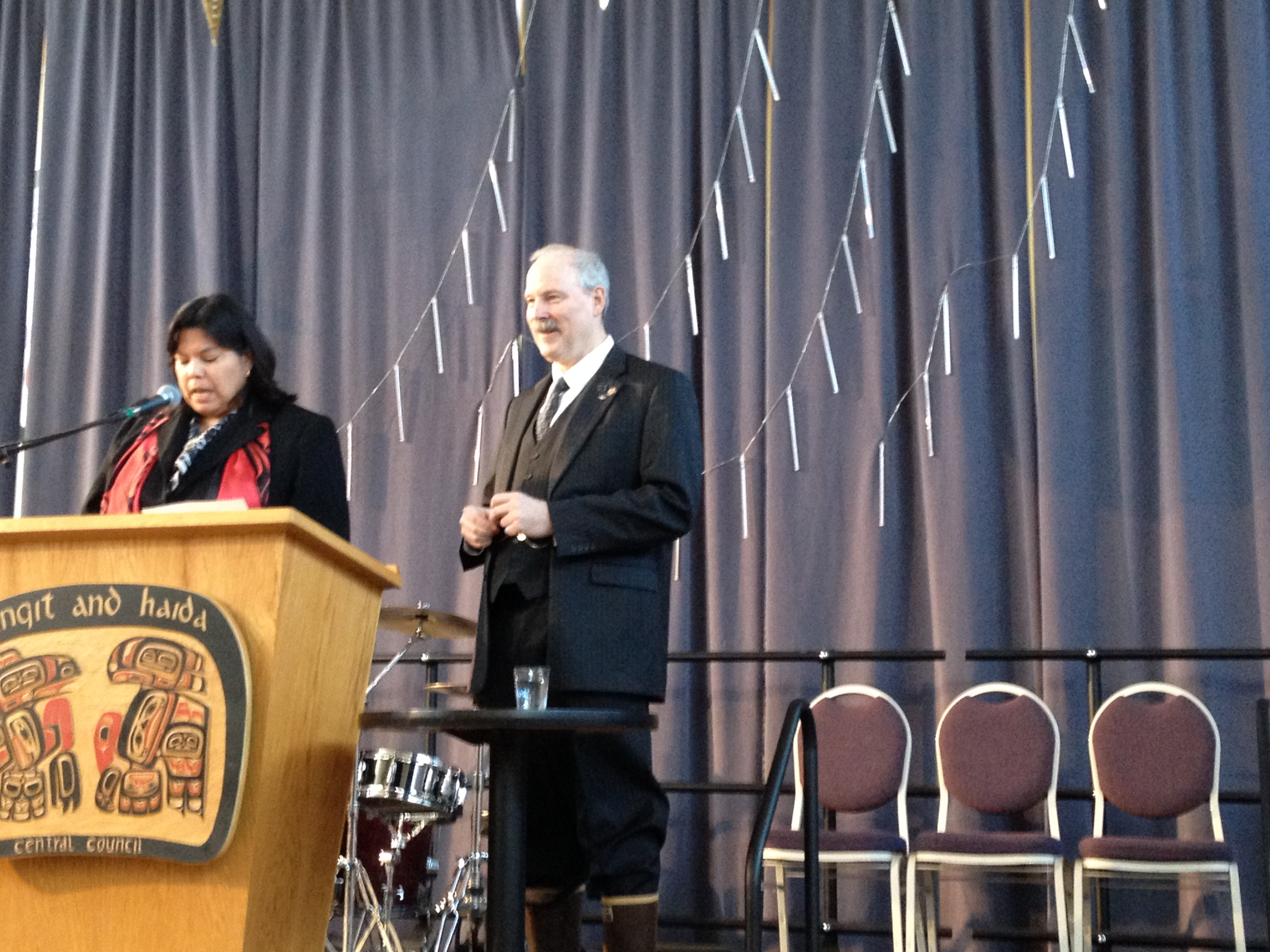 Senator Stedman prepares to speak at the Native Issues Forum