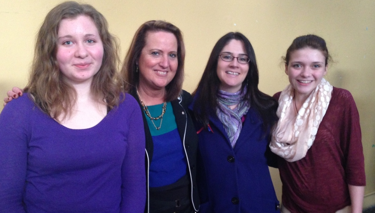 Annamarie Pike from Sitka, Julie Isom from my staff, Brandi Prefontaine from Naukati, and Brittni Tully from Ketchikan at the Poetry Out Loud state finals in Juneau.