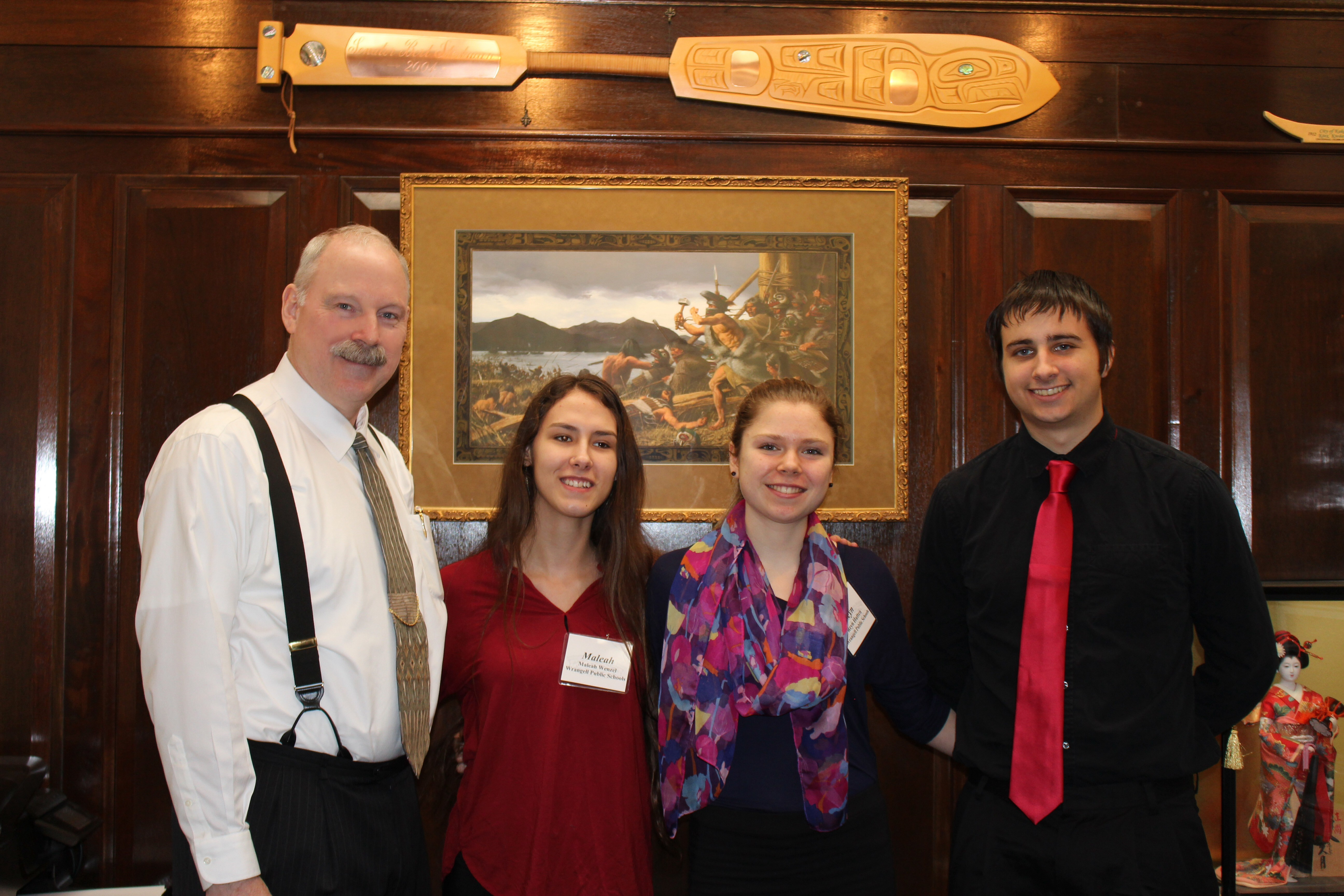 Senator Stedman pictured with students from the Wrangell School District: Maleah Menzel, Aleisha Mollen, & Davis Dow.