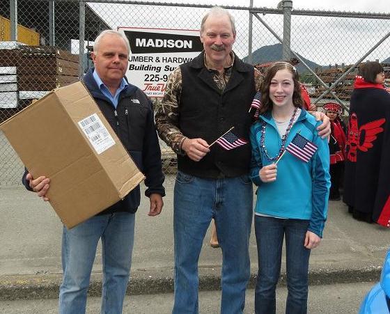 Senator Stedman, his daughter Susie and Mayor Lew Williams of Ketchikan