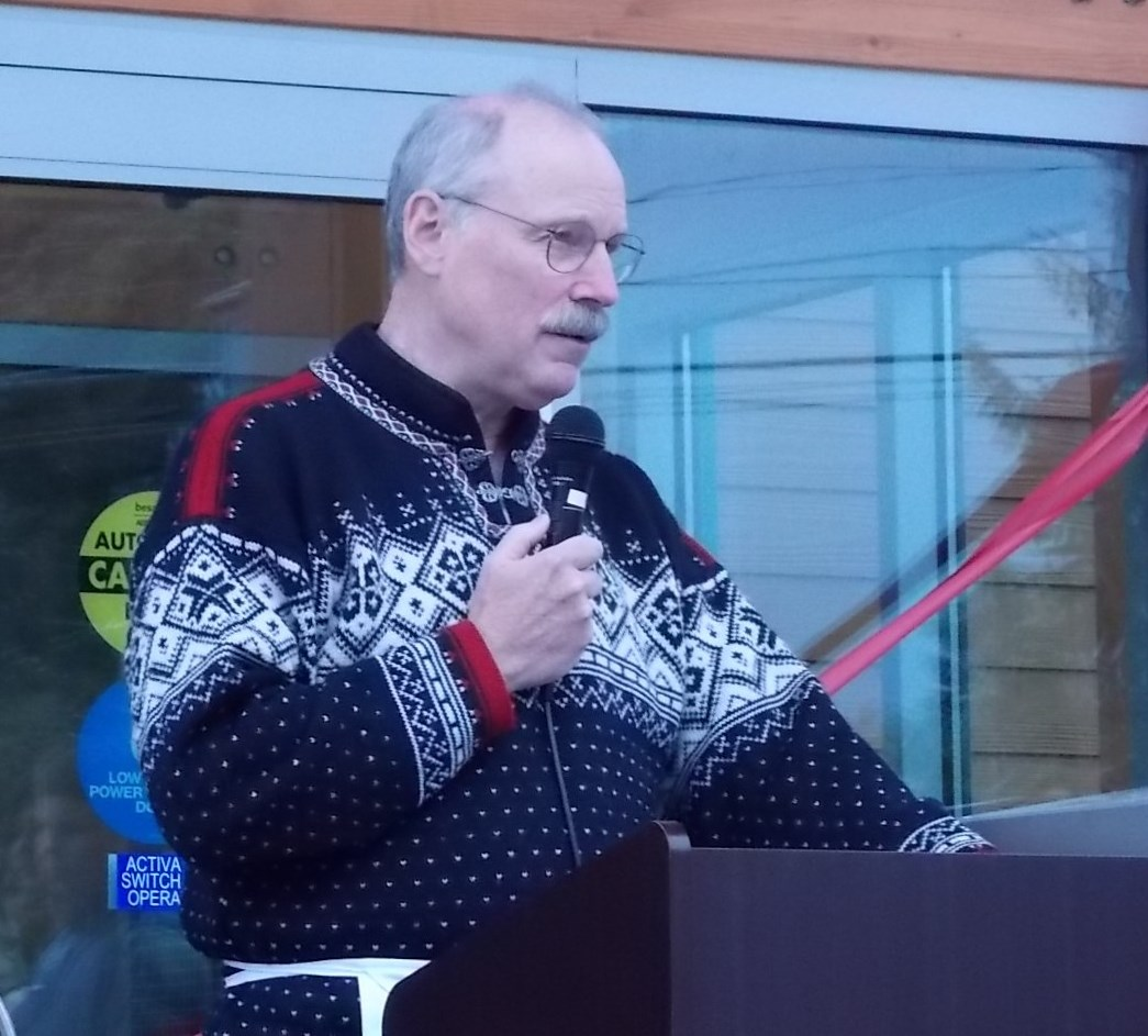 Senator Stedman delivering the keynote address at the Petersburg Library Grand Opening.  Photo courtesy of KFSK Radio.