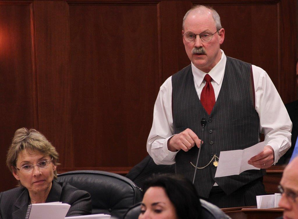 Senator Stedman speaking on the floor of the Senate.
