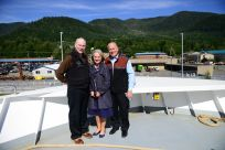Senator Stedman, First Lady Donna Walker, and Governor Bill Walker at the M/V Tazlina christening. Photo Credits - Office of Governor Walker