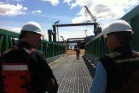 Senator Stedman and City Councilmember Bob Sivertsen inspect the improvements at Bar Harbor South