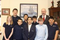 Holyname Catholic School Students with Senator Stedman