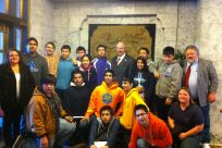 Senator Stedman with students and delegates from the Hydaburg City School District