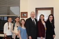 Alaska Close Up students with Senator Stedman: Grace Mikkelsen, Emma Axelson, Elizabeth Ramseth, Isadora Mattfeld, & Grace Lee.