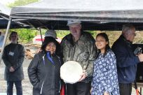 Senator Stedman pictured here wtih Alaska Native Artist Sarah Williams and a MEHS student at the groundbreaking ceremony for the MEHS Aquatic Facility.