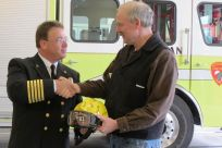 Senator Stedman and Ketchikan Fire Chief Frank Share