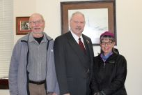 Senator Stedman pictured here with Rick and cousin Jill Williams who were visiting from Petersburg.