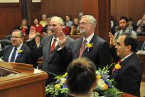 Senator Stedman taking the oath of office with Senators Hoffman, Stevens and Olson