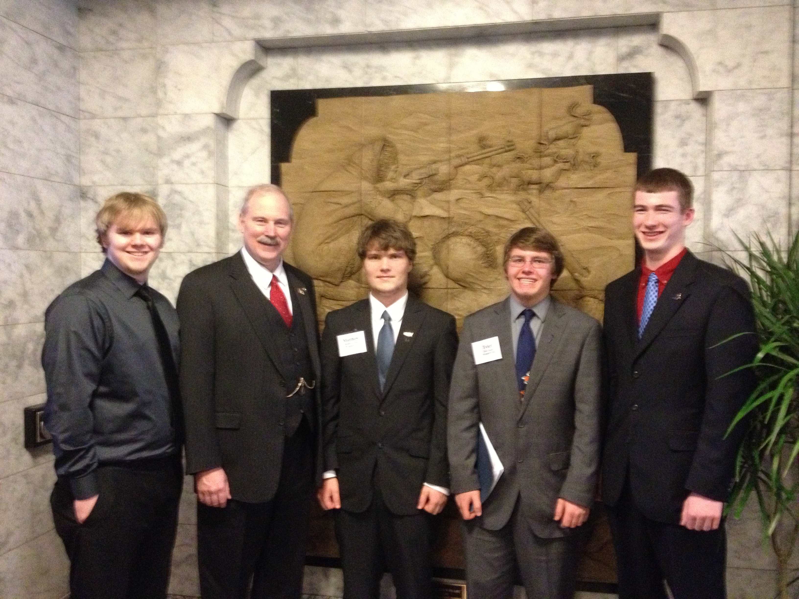 Senator Stedman with Wrangell High School Students (L to R) Lorenzo Stiva, Matthew Covalt, Tyler Eagle and Blaine Wilson